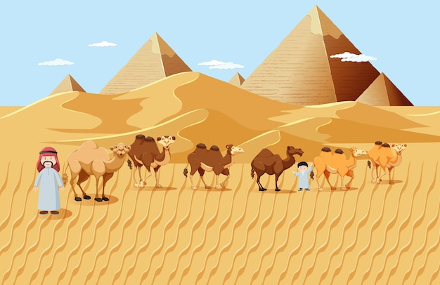 Camels in desert with pyramid background landscape scene