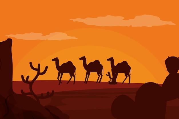 砂漠のシルエットを歩くラクダ