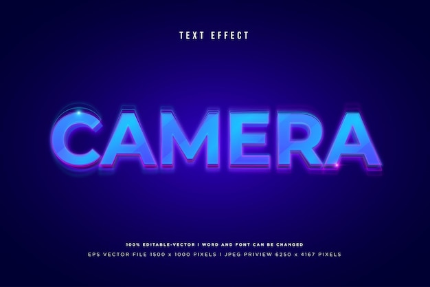 Camera 3d text effect on blue background