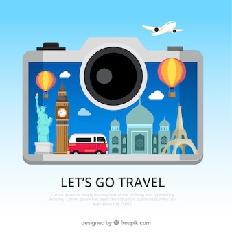 Camera background with travel elements
