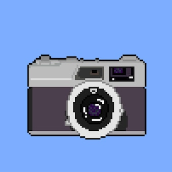 Camera on blue background with pixel art style