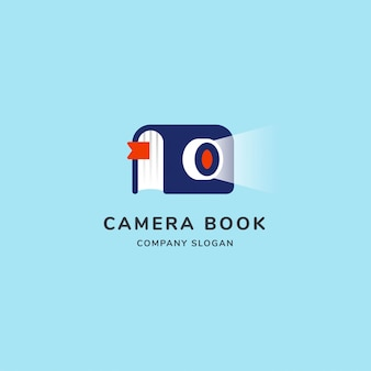 Camera book modern logo with sheet and light shoot