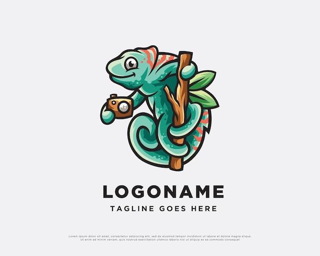 Camera chameleon character logo design