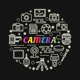 Camera colorful gradient with line icons set