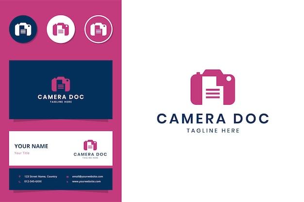 카메라 문서 부정적인 공간 로고 디자인