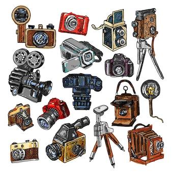 Camera doodle sketch icons set