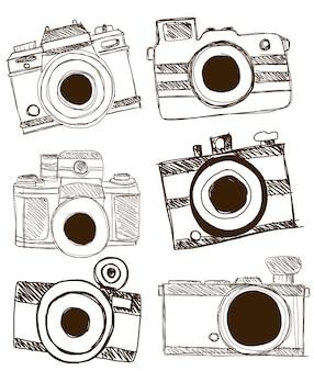 Camera doodle vector.