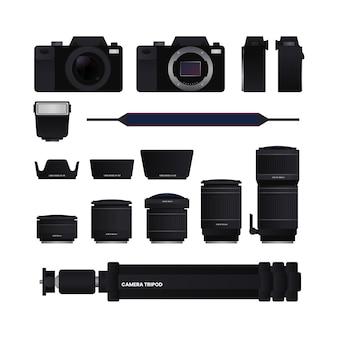 Комплект оборудования камеры объектив бленда штатив внешняя вспышка ремешок иллюстрация