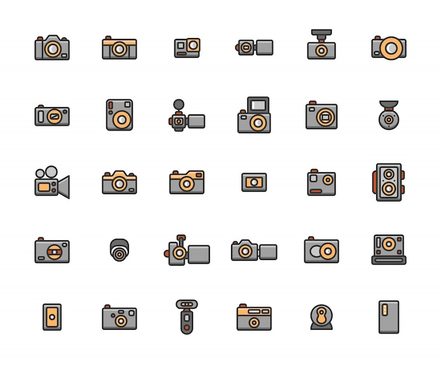 Camera filled outline icon set