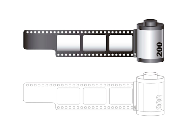 Camera film roll with lines isolated