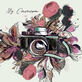 Camera and flowers background