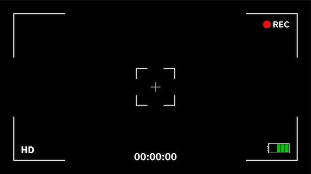 ビデオレコーダーのデジタル表示インターフェイスのカメラフレームビューファインダー画面。カメラのファインダー。録音。図。