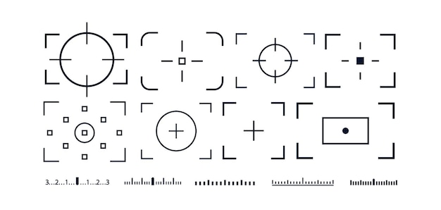 Camera frame viewfinder vector icon set isolated on white background for screen photography frame