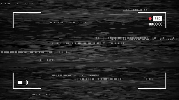 카메라 결함 효과, 노이즈 카메라 vhs, 질감 복고풍 그런 지 왜곡 및 결함, 벡터 일러스트 레이 션