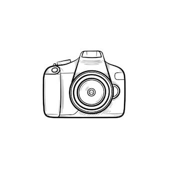 カメラの手描きのアウトライン落書きアイコン。白い背景で隔離の印刷、ウェブ、モバイル、インフォグラフィックのレンズとフラッシュベクトルスケッチイラスト付きのデジタルフォトカメラ。