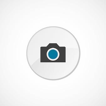 카메라 아이콘 2 색, 회색 및 파란색, 원형 배지
