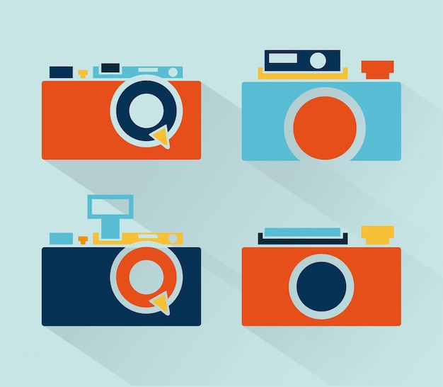Camera icon over blue background vector illustration