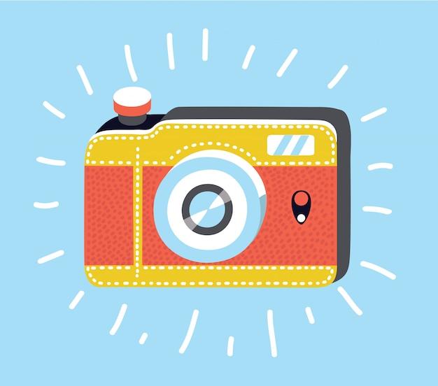 회색 배경에 고립 된 유행 플랫 스타일에서 카메라 아이콘. 웹 사이트 디자인, 로고, 앱, ui를위한 카메라 기호. 삽화