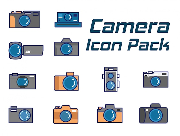 Camera icon pack-set,flat line camera icons set as modern  style
