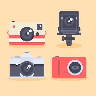 Icone camera set in stile piatto