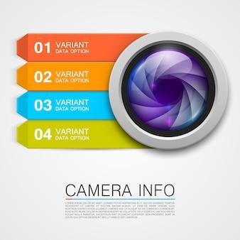 カメラ情報バナーアートクリエイティブ。ベクトルイラスト