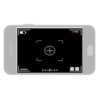 전화 화면의 카메라 인터페이스. 사진, 동영상 ui 핸드폰. 모바일 캠에서 녹음을 위한 앱. 뷰파인더, 그리드, 포커스, 버튼 및 녹화