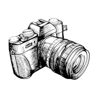 The camera is isolated on a white background handdrawn illustration