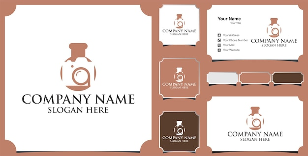 Camera lab logo vector with camera and laboratory  and business card