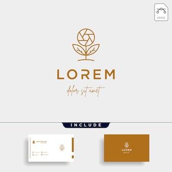 Camera leaf logo template design vector icon