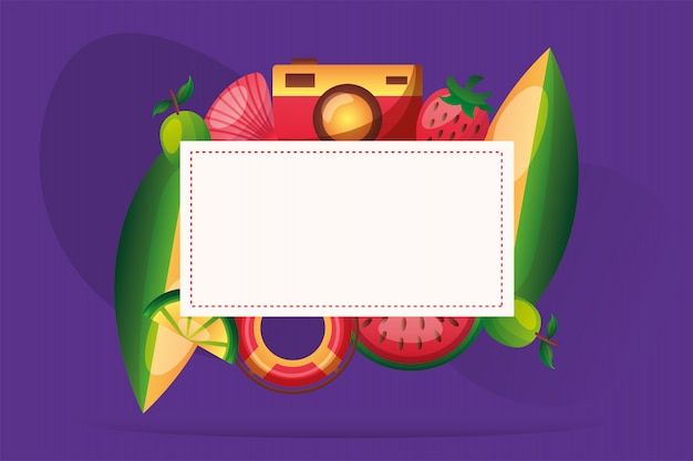 Camera lemon shell watermelon float surfboard and strawberry frame vector design