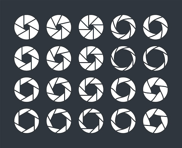 Camera lens diaphragm. optical lenses, shutter aperture pictogram. collection of photo or video camera snap optics with different position of petals. outline silhouette vector isolated set