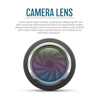 Camera lens   illustration  on white background