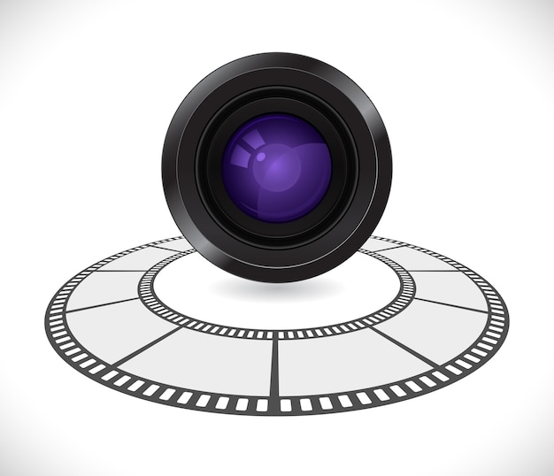 丸いフィルムストリップの3dアイコンのカメラレンズ