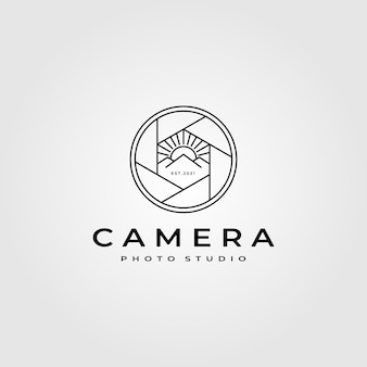 Camera lens photography logo with nature mountain design