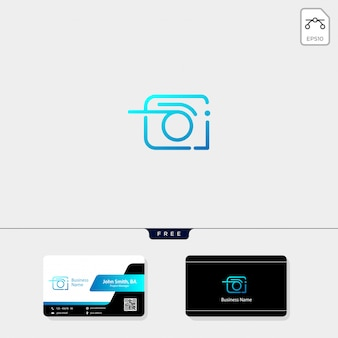 Camera logo and free business card design