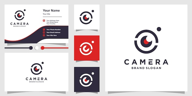 Camera logo with creative modern concept and business card design premium vector