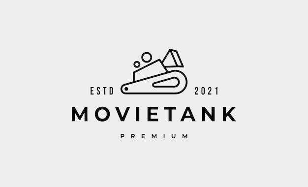 Camera military tank logo design vector illustration
