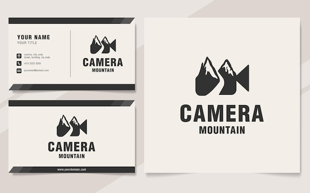 Шаблон логотипа горы камеры в стиле монограммы