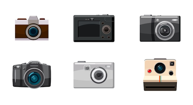 Camera object isolated set. cartoon set of camera