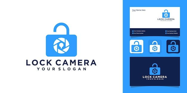 Camera and padlock combination design logo and business card