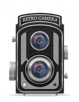 Camera photo old retro vintage vector illustration