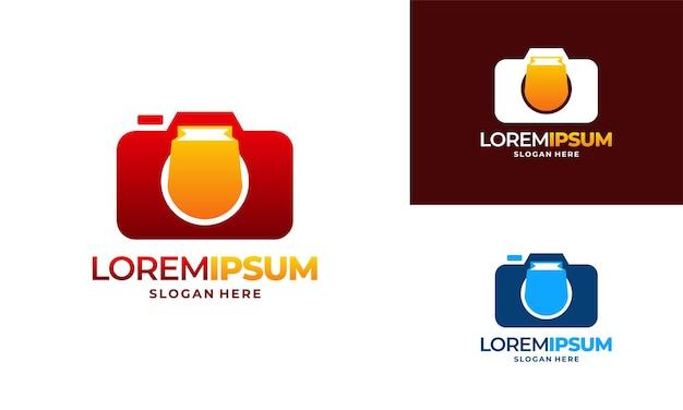 Вектор концепции дизайна логотипа камеры фотографии, логотип магазина камеры