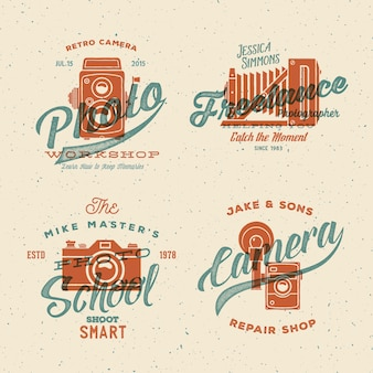 Camera photography logos with vintage typography and retro print effect.