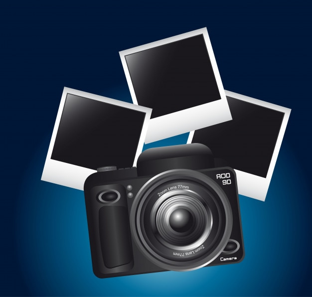 Camera and photos frame over blue background