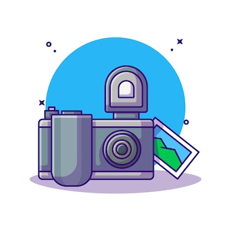Camera and picture cartoon. photography concept.