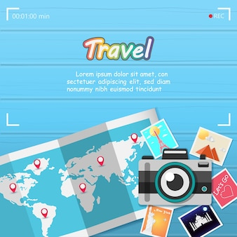 Camera and picture travel around the world.