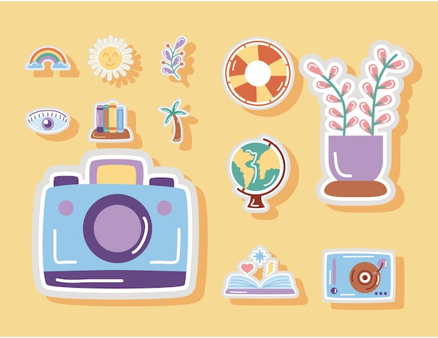 Camera pothographic and set stickers flat style icons.
