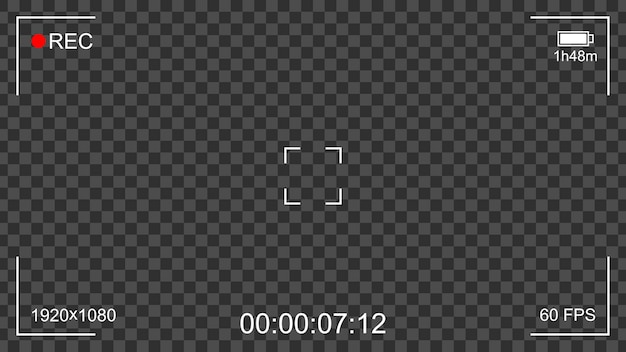 Camera rec interface viewfinder with transparent background Premium Vector