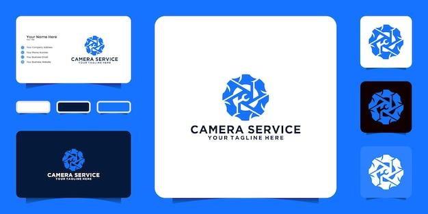 Вдохновение для дизайна логотипа ремонта камеры и визитной карточки