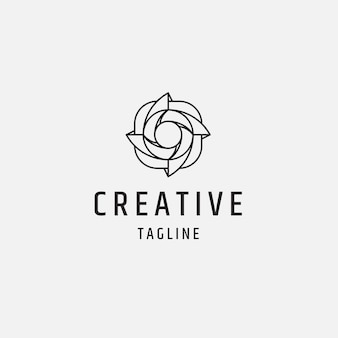 Camera shutter line style logo icon design template illustration